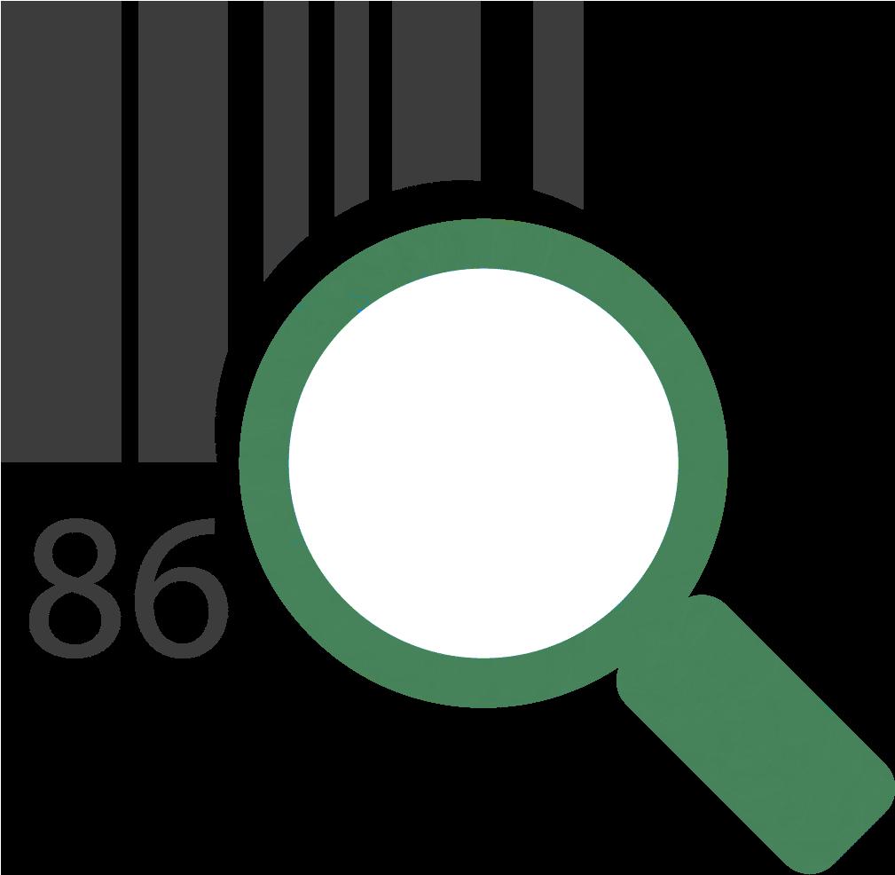 Icône représentant un code-barres et une loupe