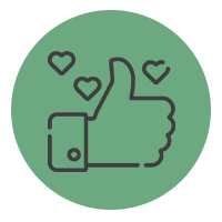 Icône représentant un pouce en l'air avec des coeurs