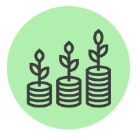Icône représentant trois pile croissante de monnaie