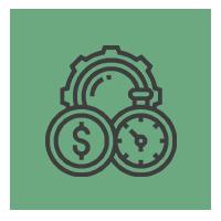 Icône représentant un rouage, une horloge et une pièce de monnaie